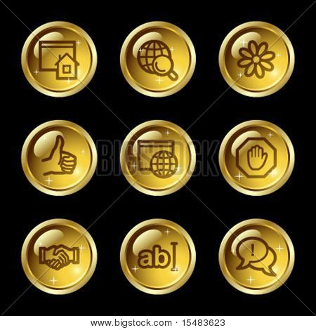 Internet communication web icons, gold glossy buttons series