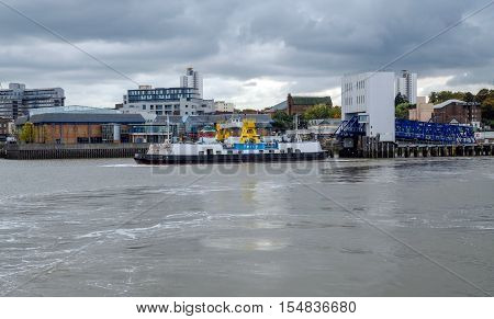 Woolwich Ferry, crosses the river Thames in London