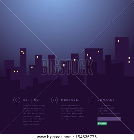 Website Template, Website Footer, Night at City background