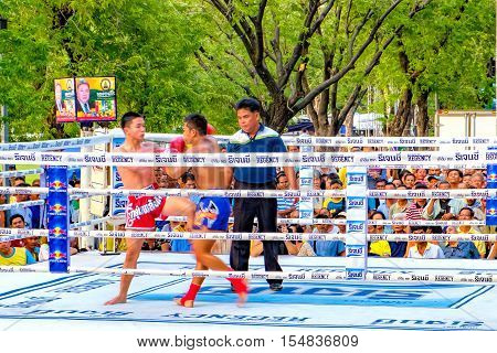 Bangkok, Thailand - December 4, 2015: Unidentified traditional Muay Lao boxer at a traditional tournament during the celebration of the King Rama 9 birthday at public square Sanam Luang.