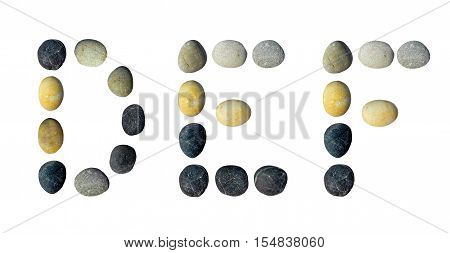 DEF letters made of pebbles on a white background.