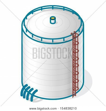 Tank for storing water, gas, oil, oxygen and other solid fuels. Part of wastewater treatment plant, WWTP. Isometric vector symbol for water management, gasometer or deal with fuel and drinking water.