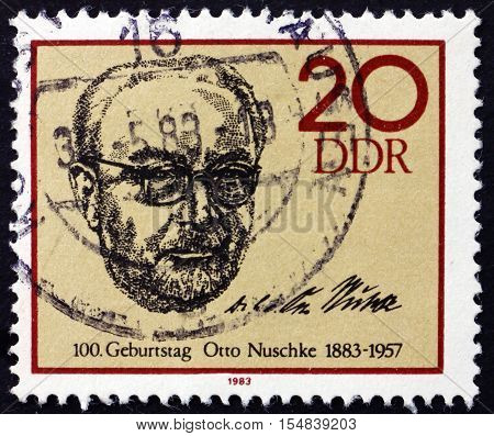 GERMANY - CIRCA 1983: a stamp printed in Germany shows Otto Nuschke German Politician circa 1983
