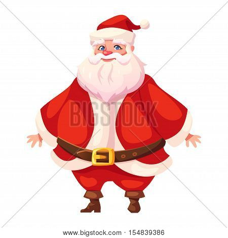 Vector illustration of standing Santa Claus in three-quarter pose. Flat cartoon style colorful Christmas character design. Isolated funny man.