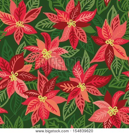 Vector seamless pattern with poinsettia plant