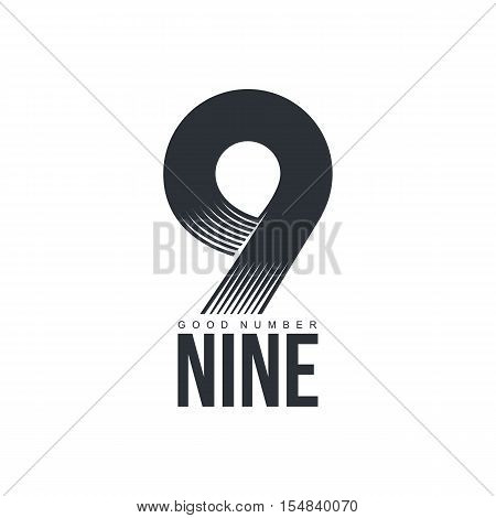 Black and white technological number nine logo, vector illustration isolated on white background. Black and white textured number nine graphic logotype for scientific and technological companies