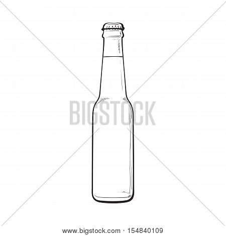 Bottle of cold beer, sketch style vector illustration isolated on white background. Hand drawn frosty bottle of ice cold beer, lager, ale, Oktoberfest symbol