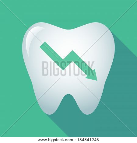 Long Shadow Tooth Icon With A Descending Graph