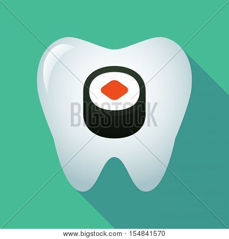 Long Shadow Tooth Icon With A Piece Of Sushi Maki