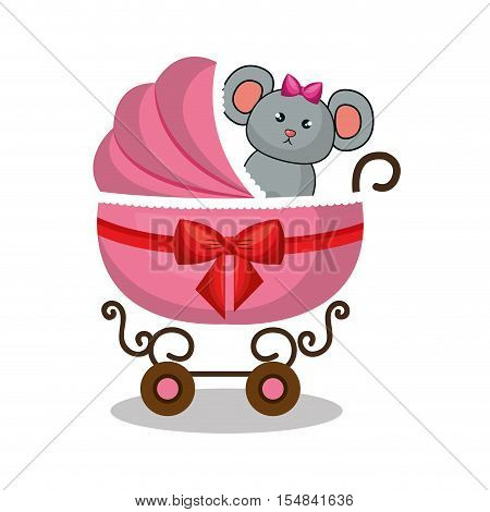 cart baby with cute stuffed animal vector illustration design