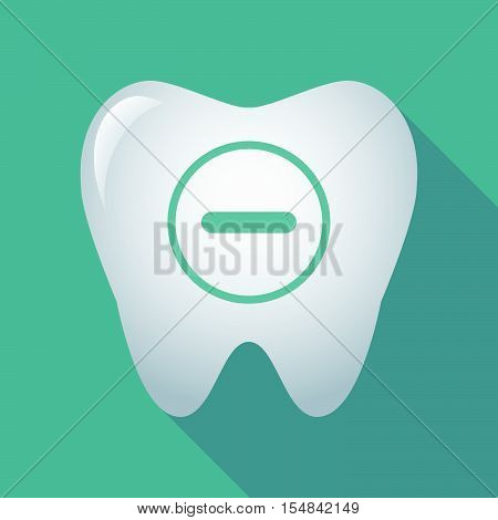 Long Shadow Tooth Icon With A Subtraction Sign