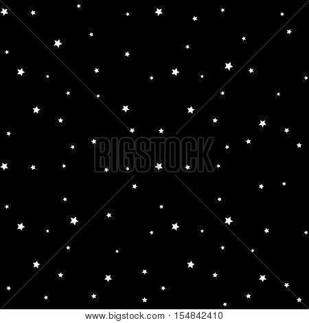 Star seamless pattern. Black and white retro background. Chaotic elements. Abstract geometric shape texture. Effect of sky. Design template for wallpaper wrapping fabric textile Vector Illustration