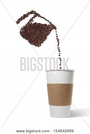 Still Life of a Coffee Pot Made of Coffee Beans Pouring Beans into Paper Takeout Cup