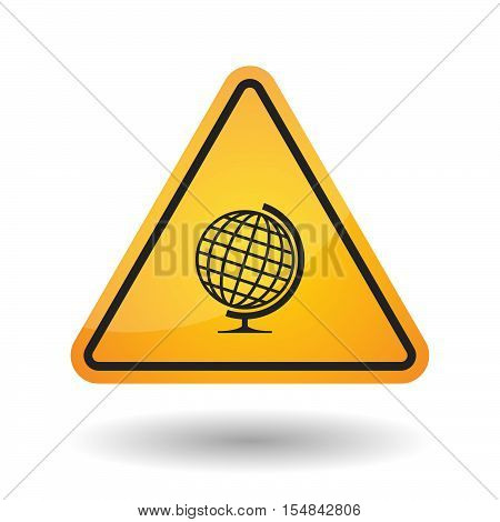 Isolated Danger Signal Icon With  A Table World Globe