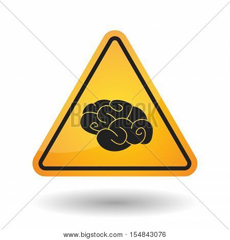 Isolated Danger Signal Icon With A Brain
