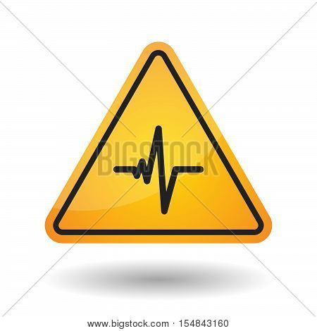Isolated Danger Signal Icon With A Heart Beat Sign