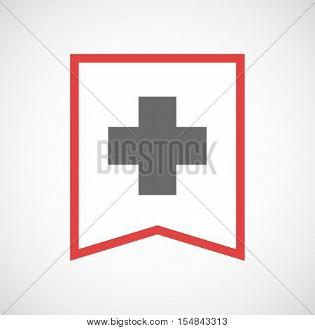 Isolated Line Art Ribbon Icon With A Pharmacy Sign