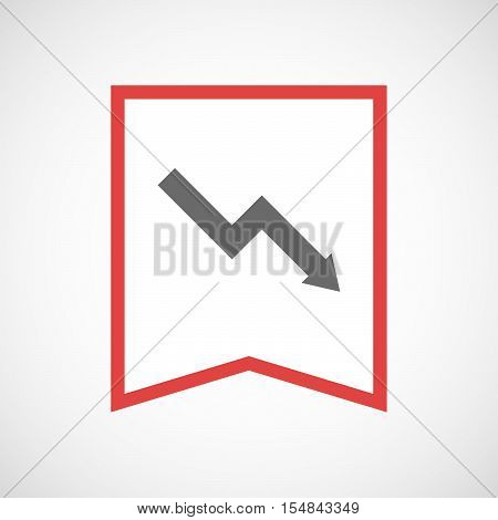 Isolated Line Art Ribbon Icon With A Descending Graph
