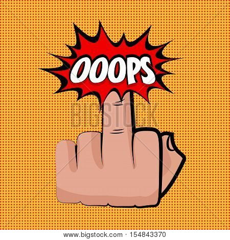 Hand sign middle finger oops comic retro pop art style. Gestures aggressive. Cartoon comic vector colored pictute. Dot hand drawn finger, angry sign. Provocative hand sign. Orange pop art background.