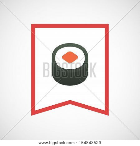 Isolated Line Art Ribbon Icon With A Piece Of Sushi Maki