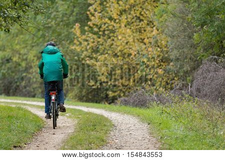 Man riding a bike on a forest road