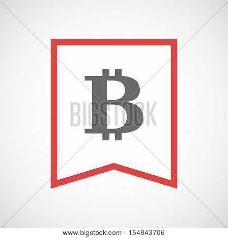 Isolated Line Art Ribbon Icon With A Bit Coin Sign