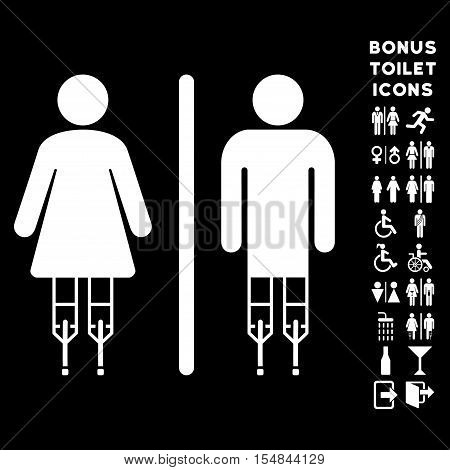 Disabled WC Persons icon and bonus man and lady WC symbols. Vector illustration style is flat iconic symbols, white color, black background.