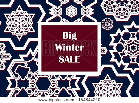 Winter sale background with snowflakes. Christmas sale. New year sale. Vector illustration