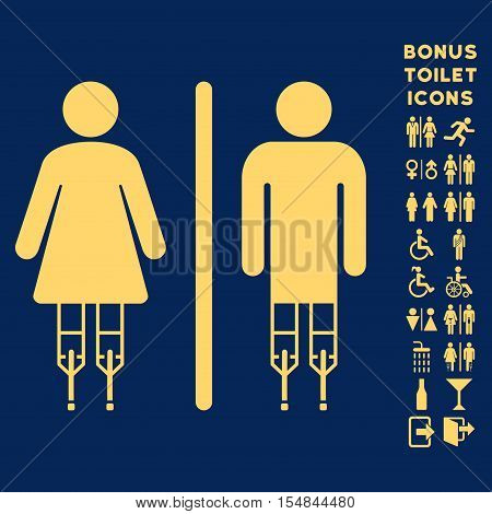 Disabled WC Persons icon and bonus man and female WC symbols. Vector illustration style is flat iconic symbols, yellow color, blue background.