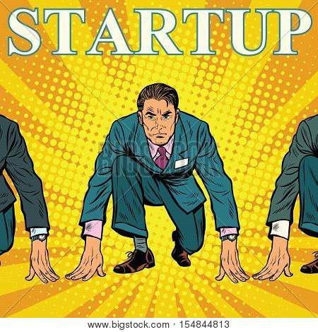 Startup retro businessman on the starting line with competitors, pop art vector