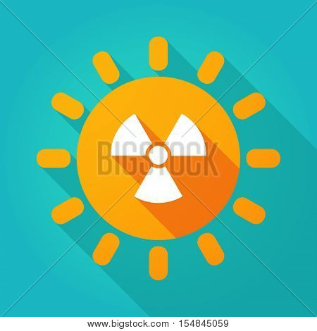 Long Shadow Bright Sun Icon With A Radio Activity Sign