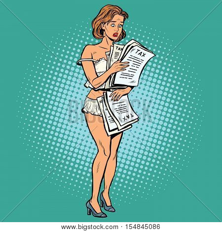 Beautiful retro woman Nude taxes, pop art vector. Finance and economy, tax policy