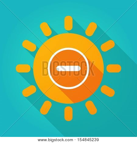 Long Shadow Bright Sun Icon With A Subtraction Sign