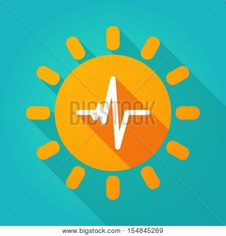 Long Shadow Bright Sun Icon With A Heart Beat Sign