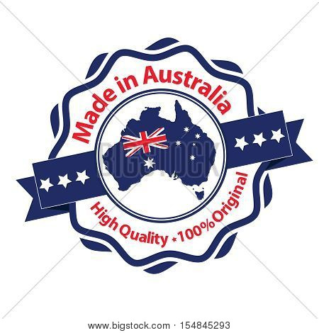Made in Australia, High Quality, 100% original - label / stamp / badge with the Australian map and flag on the background