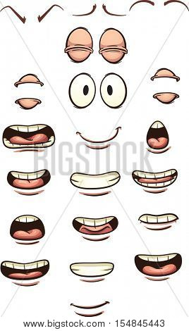 Cartoon mouths and eyes. Vector clip art illustration with simple gradients. Each on a separate layer.
