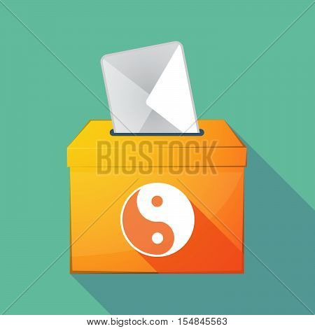 Long Shadow Coloured Ballot Box Icon With A Ying Yang