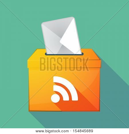 Long Shadow Coloured Ballot Box Icon With An Rss Sign