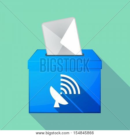Long Shadow Coloured Ballot Box Icon With A Satellite Dish