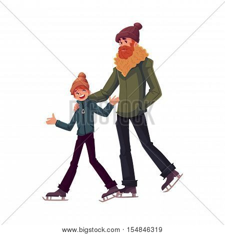 Happy father and son ice skating together, cartoon vector illustrations isolated on white background. Father and son ice skating, talking and having fun, winter activity
