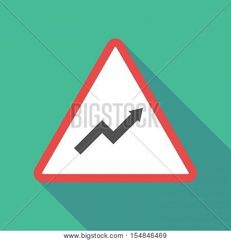 Long Shadow Triangular Warning Sign Icon With A Graph