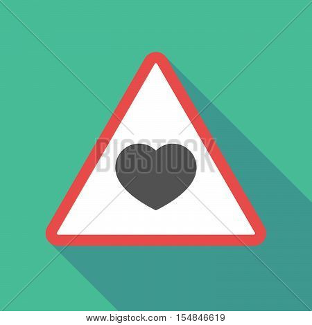 Long Shadow Triangular Warning Sign Icon With A Heart