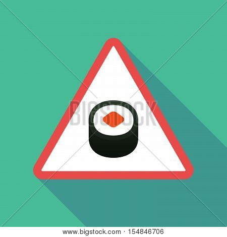 Long Shadow Triangular Warning Sign Icon With A Piece Of Sushi Maki