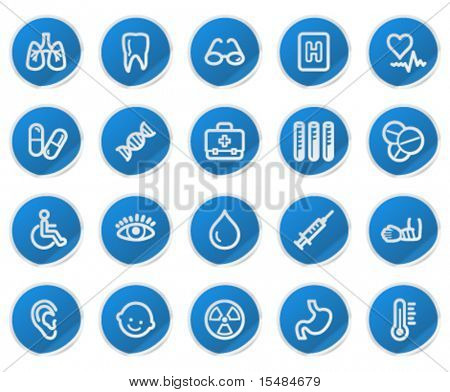 Medicine web icons, blue sticker series