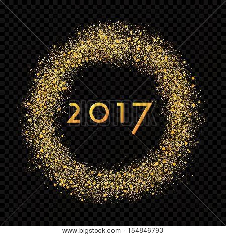 2017 New Year abstract gold glittering star dust rain circle on the alpha transperant background. Rich Golden Explosion Confetti effect. Luxury NY 2017 banner
