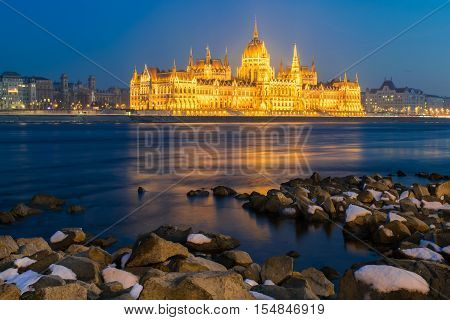 Hungarian parliament at night in winter in Budapest