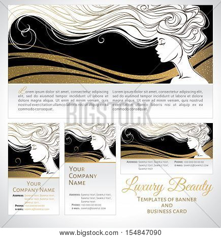 Vector illustration. Beautiful silhouette of long hair woman on black and golden background. Corporate identity branding template of banner/flyer and business card. Concept design for beauty salons spa cosmetics fashion and beauty industry.