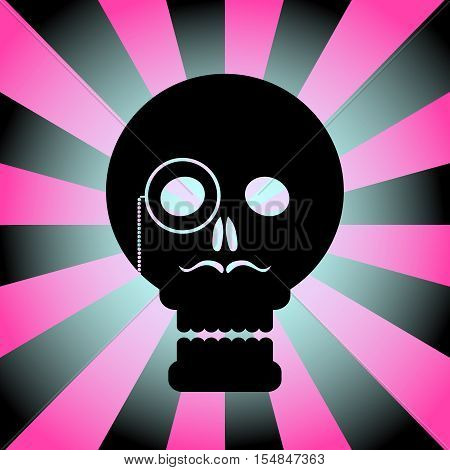 Black gentleman skull on a radial background in pink.