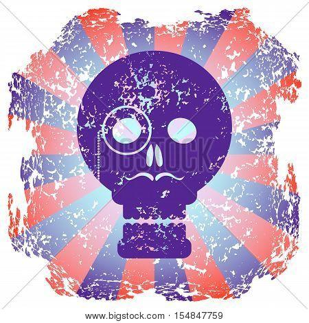 Purple skull gentleman on radial background. Worn grunge background. Sticker skull.