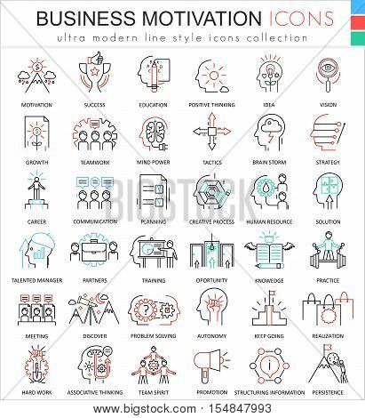 Vector Business motivation and discipline ultra modern color outline line icons for apps and web design